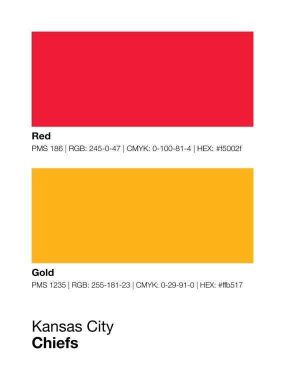 Kansas City Chiefs Pantone Poster NFL Man Cave Chief by Sproutjam ...