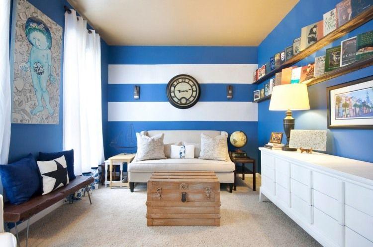 maritime einrichtung - horizontale streifen in kobaltblau und weiß ... - Wandgestaltung Schlafzimmer Maritim