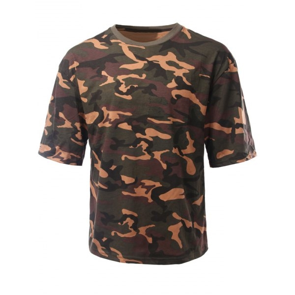 18.61$  Buy here - http://di2uc.justgood.pw/go.php?t=180161405 - Loose-Fitting Camouflage Drop Shoulder Round Neck Short Sleeve Men's T-Shirt 18.61$
