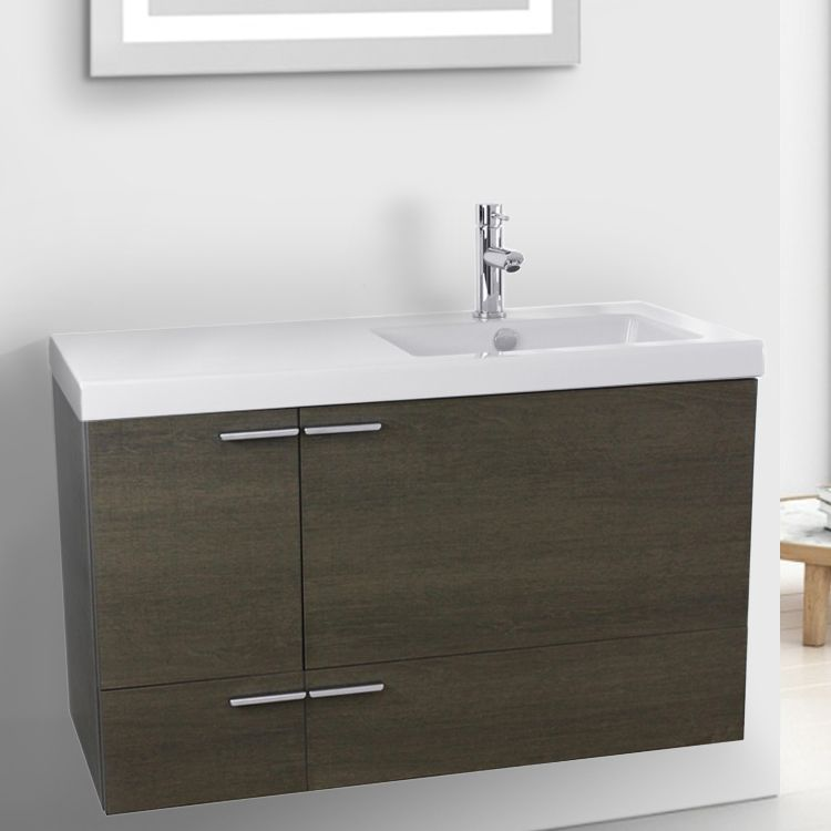 39 Inch Grey Oak Bathroom Vanity with Fitted Ceramic Sink ...