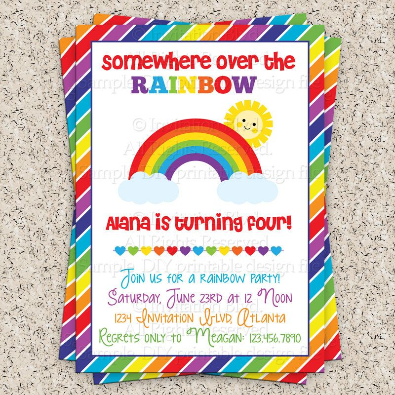 Rainbow Party Invitation Rainbow Birthday By InvitationBlvd