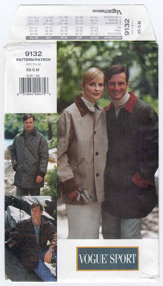 Jacket / Coat Sewing Pattern, Women\'s or Men\'s Size XS-Small-Medium ...