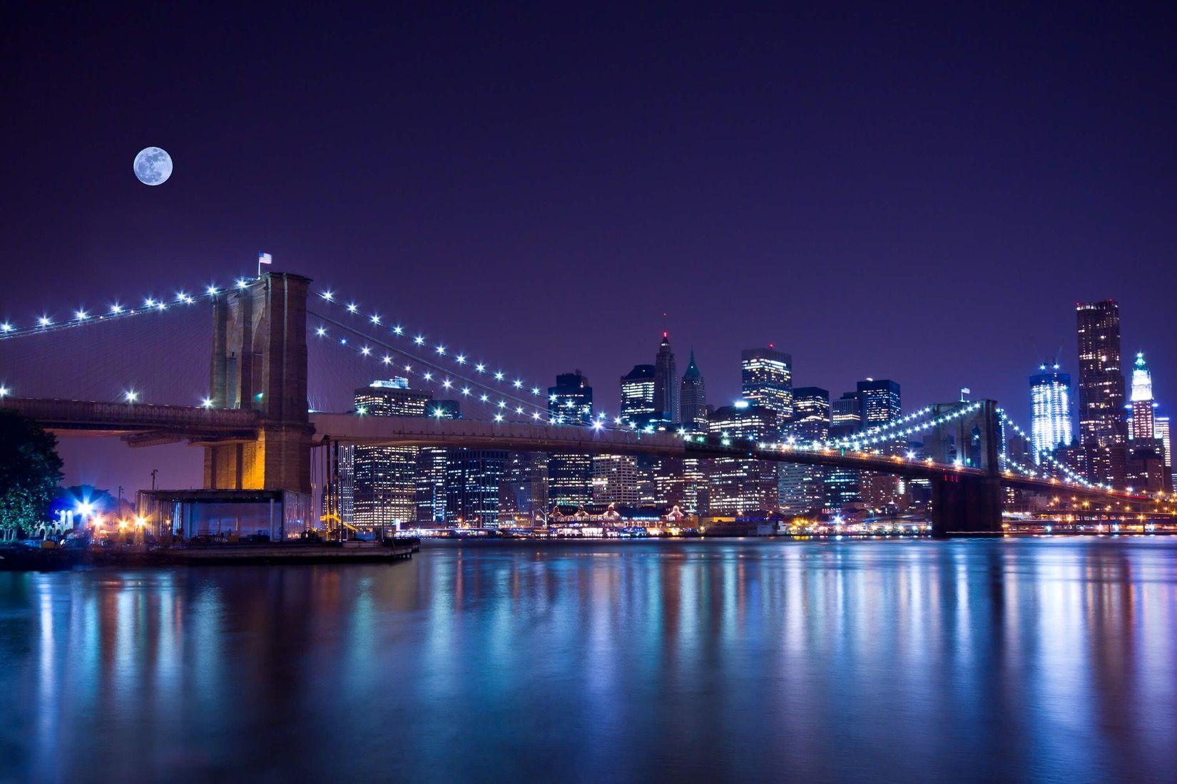 Moonlit Brooklyn Bridge Wallpaper Mural in 2020 Bridge