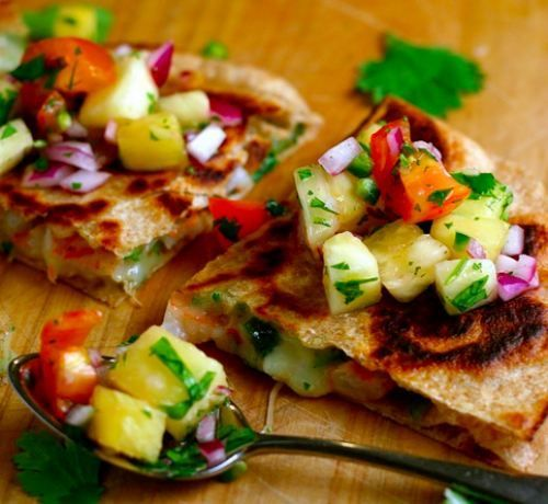 Shrimp Quesadillas with Pineapple Salsa