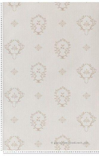 Rayures et médaillons beiges - Papier peint Jack'N Rose de Montecolino