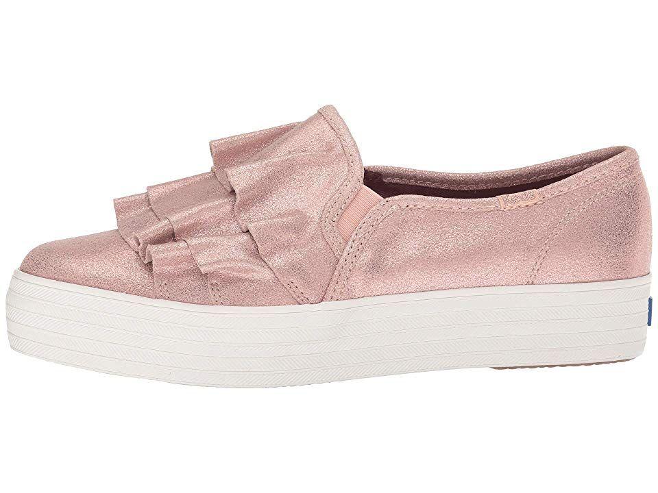 d78f0883d816 Keds Triple Ruffle Glitter Suede Women s Slip on Shoes Rose ...