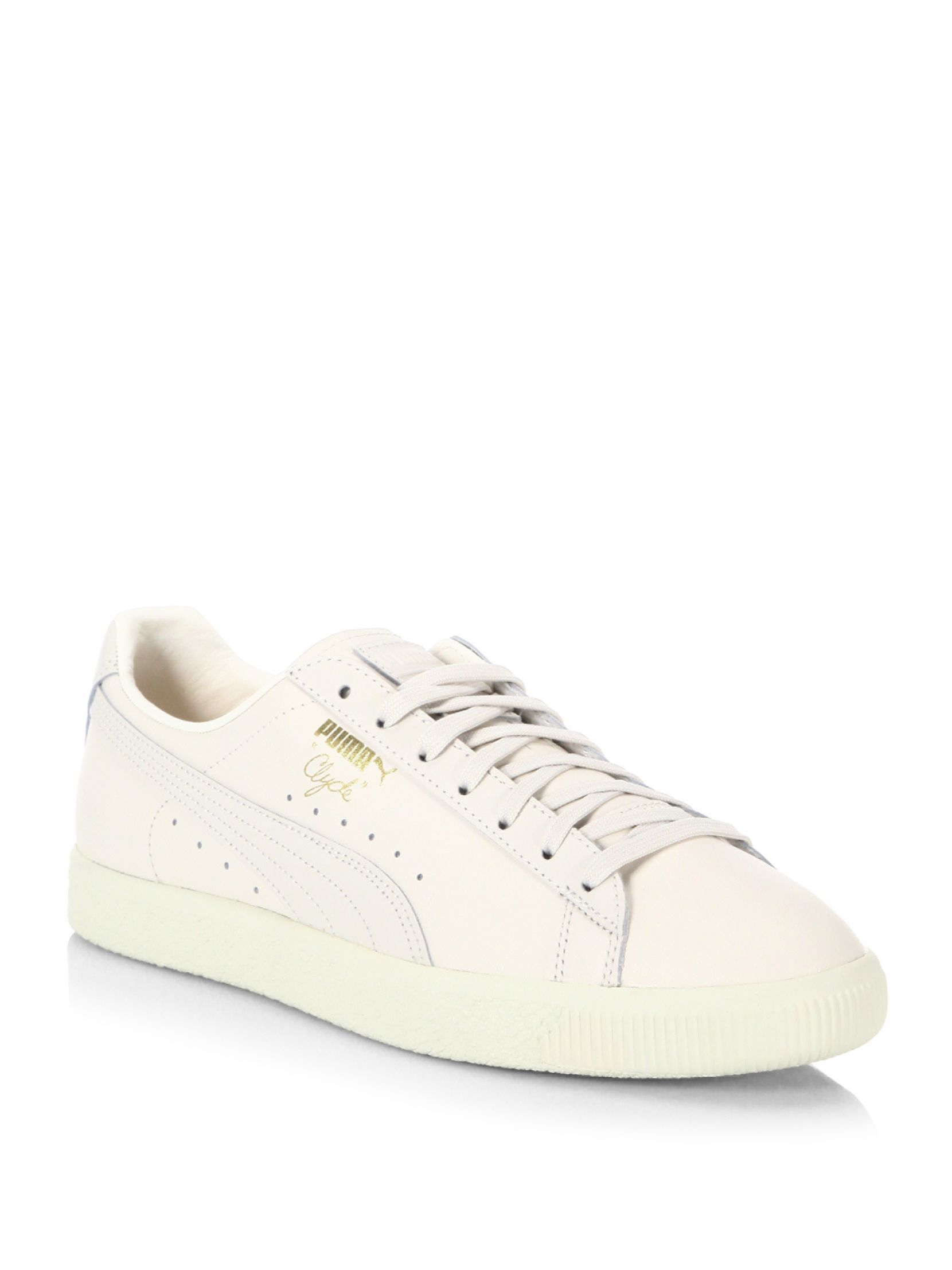 dc6cfedc97f PUMA Clyde Natural Leather Sneakers White Sneakers