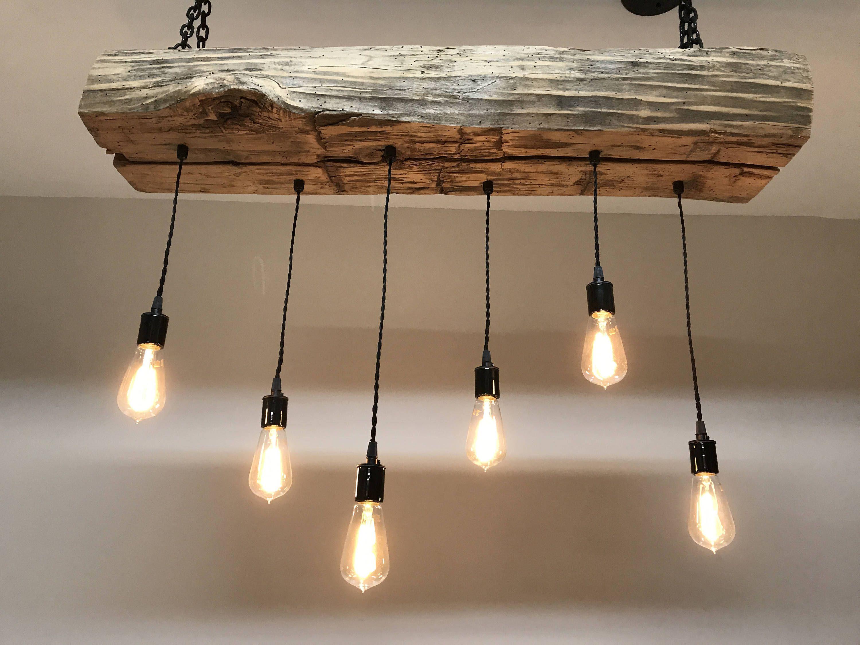 "Luminaire Pour Plafond Bas Avec Poutre rustic chandelier 84"" reclaimed barn sleeper beam wood light"