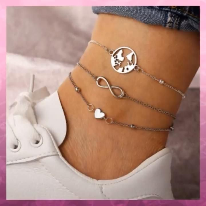 Photo of Creative Fashion Map Love Heart Lucky Anklet Foot Accessory Anklet