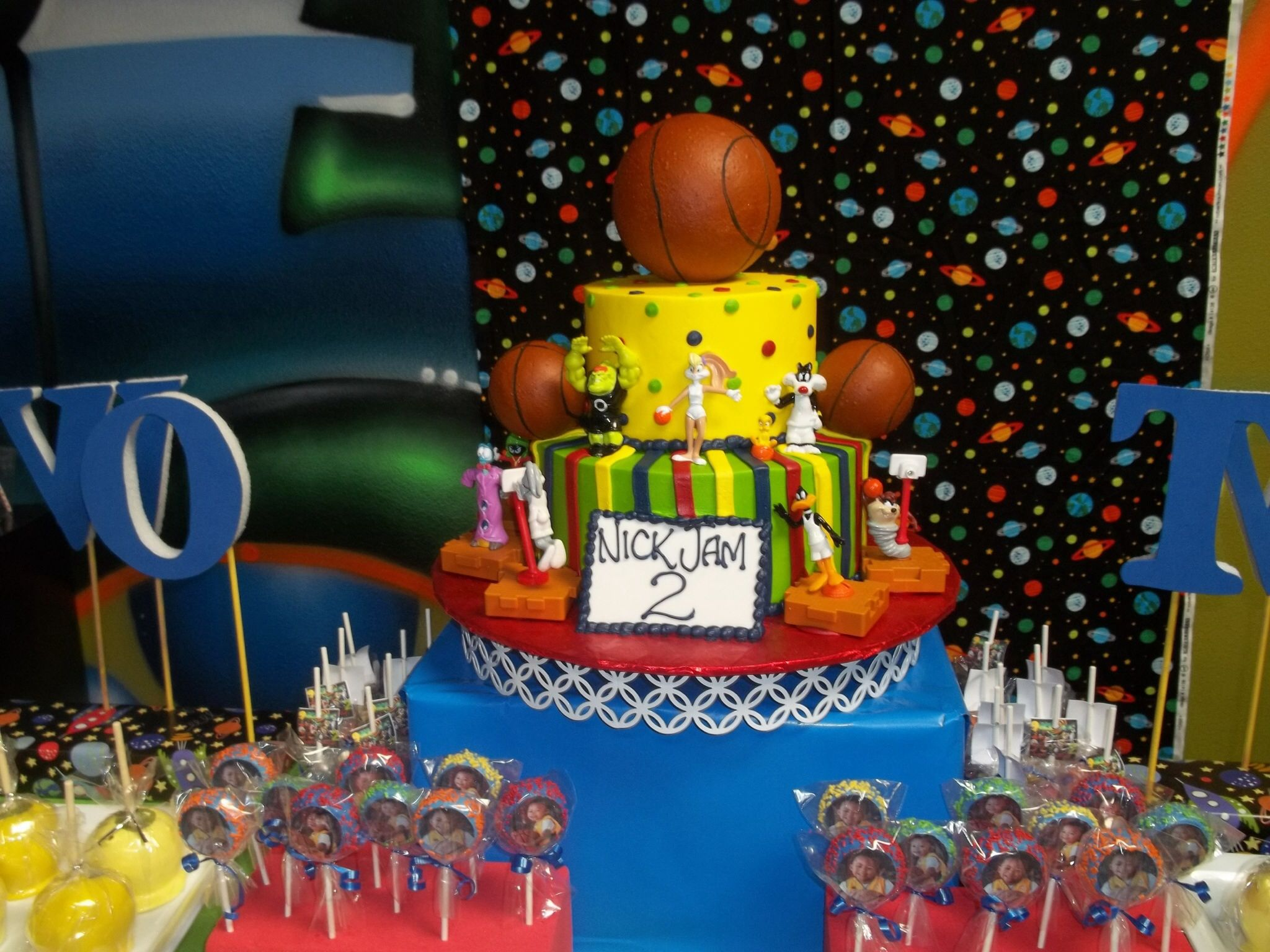 Space Jam Themed Kids Birthday Cake 1st Birthday Party