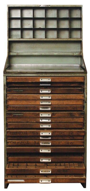 Vintage French Type Storage Cabinet 57p4937 Piece De Loisirs Creatifs Meuble De Metier Meuble