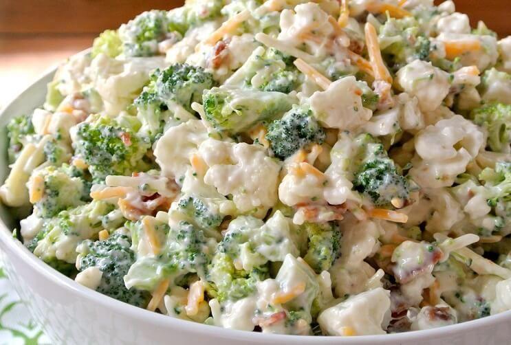Best Cauliflower Salad Cooking Recipes In 2020 Broccoli Cauliflower Salad Cauliflower Salad Broccoli Cauliflower