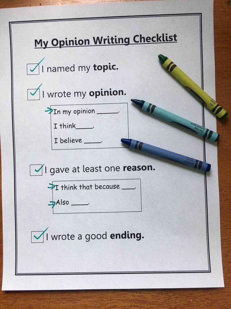 Opinion Writing Checklist 1st Grade Writing Checklist Student Writing Checklist Primary Writing