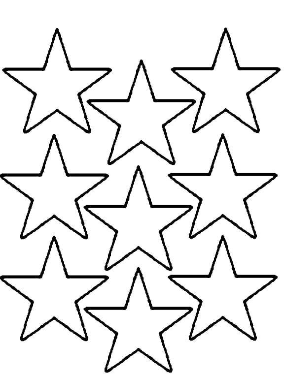 Nine Christmas Star Is Cool And Nice Coloring Page Star