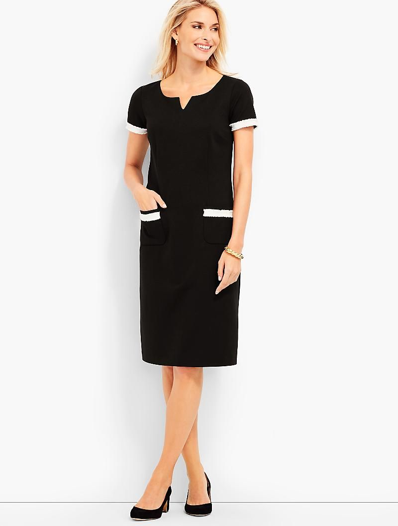 Talbots Fringe Trimmed Ponte Sheath Dress In Black 119 Clothes Clothes For Women Talbots Outfits [ 1057 x 800 Pixel ]