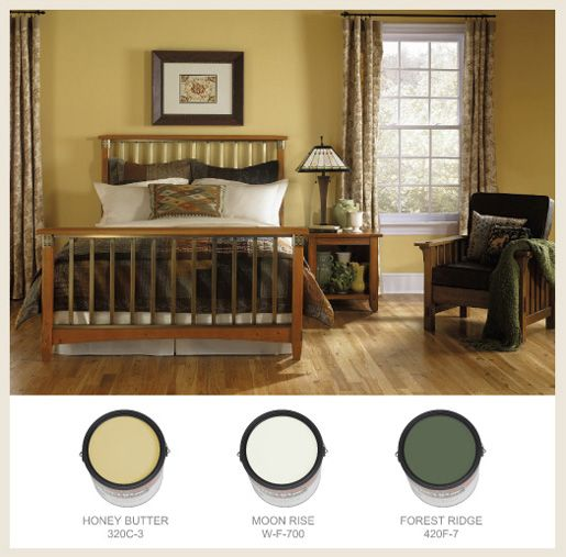 Soft Gold Creates A Warm Atmosphere In Bedroom Craftsman Behrpaint