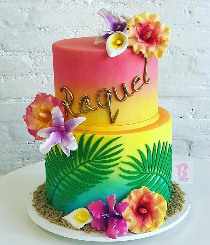 Peachy Tropical Cake Inspiration Spotted Bcakeny Funny Birthday Cards Online Kookostrdamsfinfo