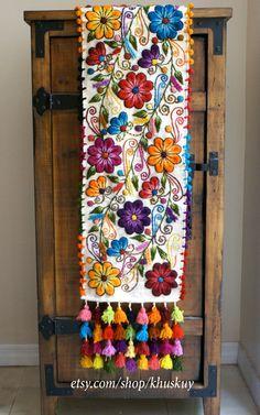 Boho table runner,Peru Table Bed runner,peru tapestry,peru textile,wool runner,table loom,embroider runner red,flower runner,hippie runner #flowerbeds
