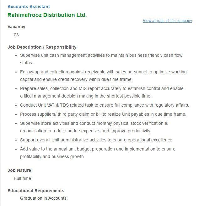 Career \u2013 Rahimafrooz Distribution Ltd \u2013 Position Accounts Assistant