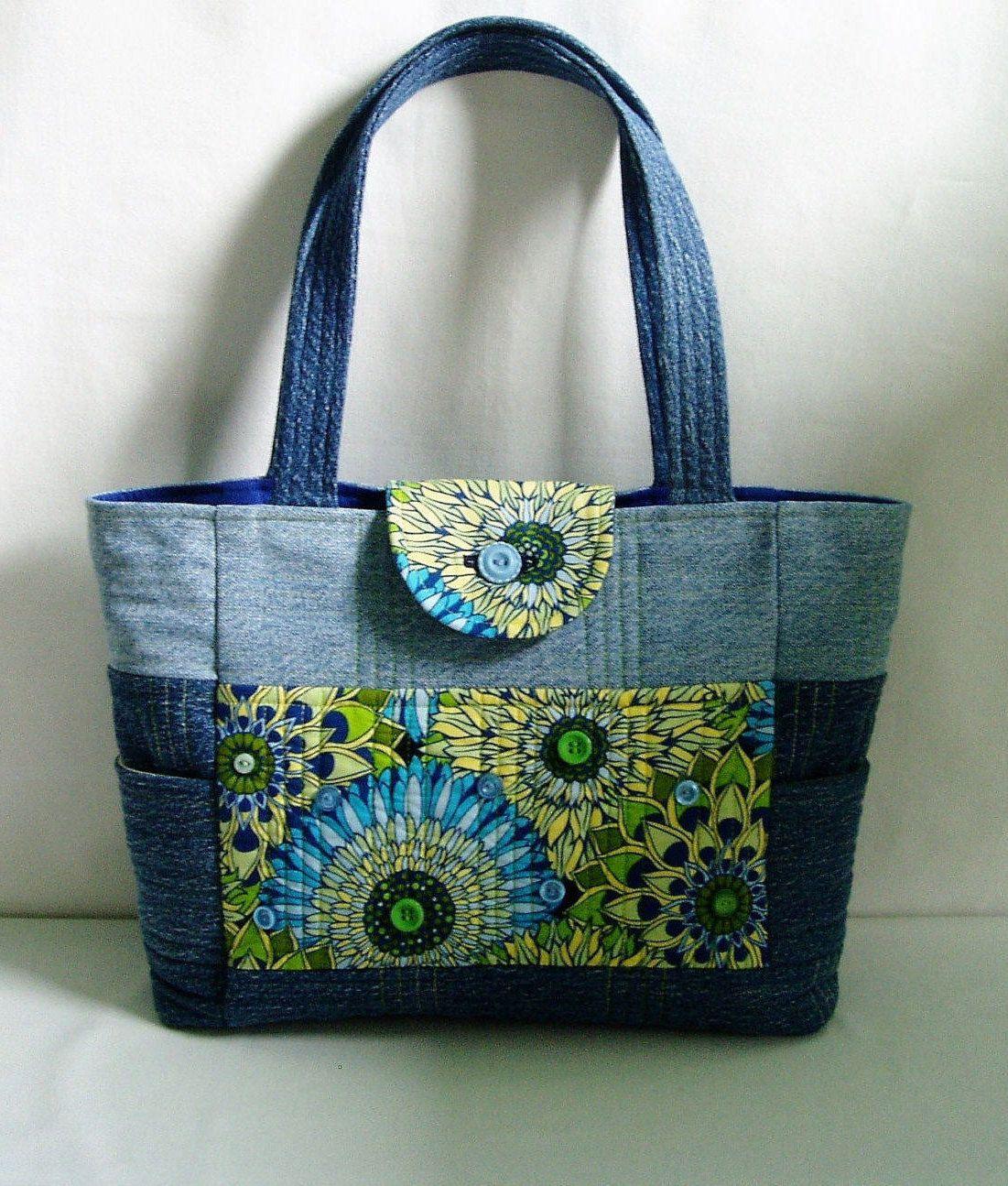 69453fedf Bolso de Jean Denim acolchado monedero de tela Floral azul | Bolsos y  carteras | Denim