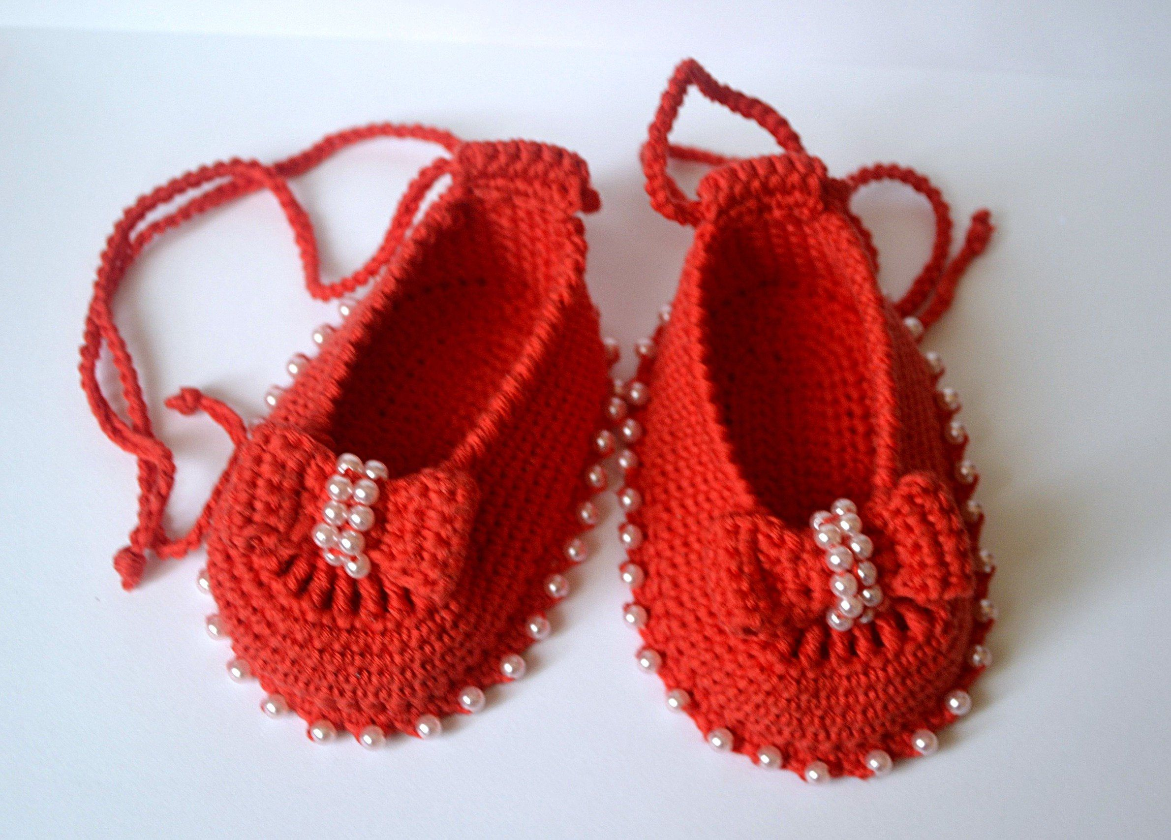 c2bce1834c782 Crochet baby booties, Mary Jane shoes, newborn shoes 3 6 month red ...