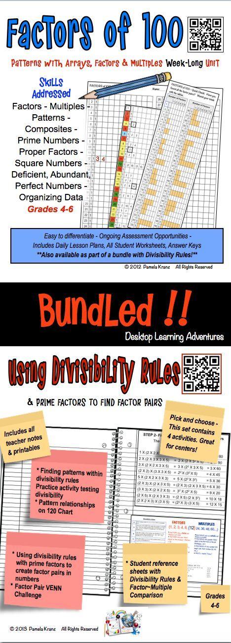Factors of 100 Unit & Using Divisibility Rules Bundle | Factors ...