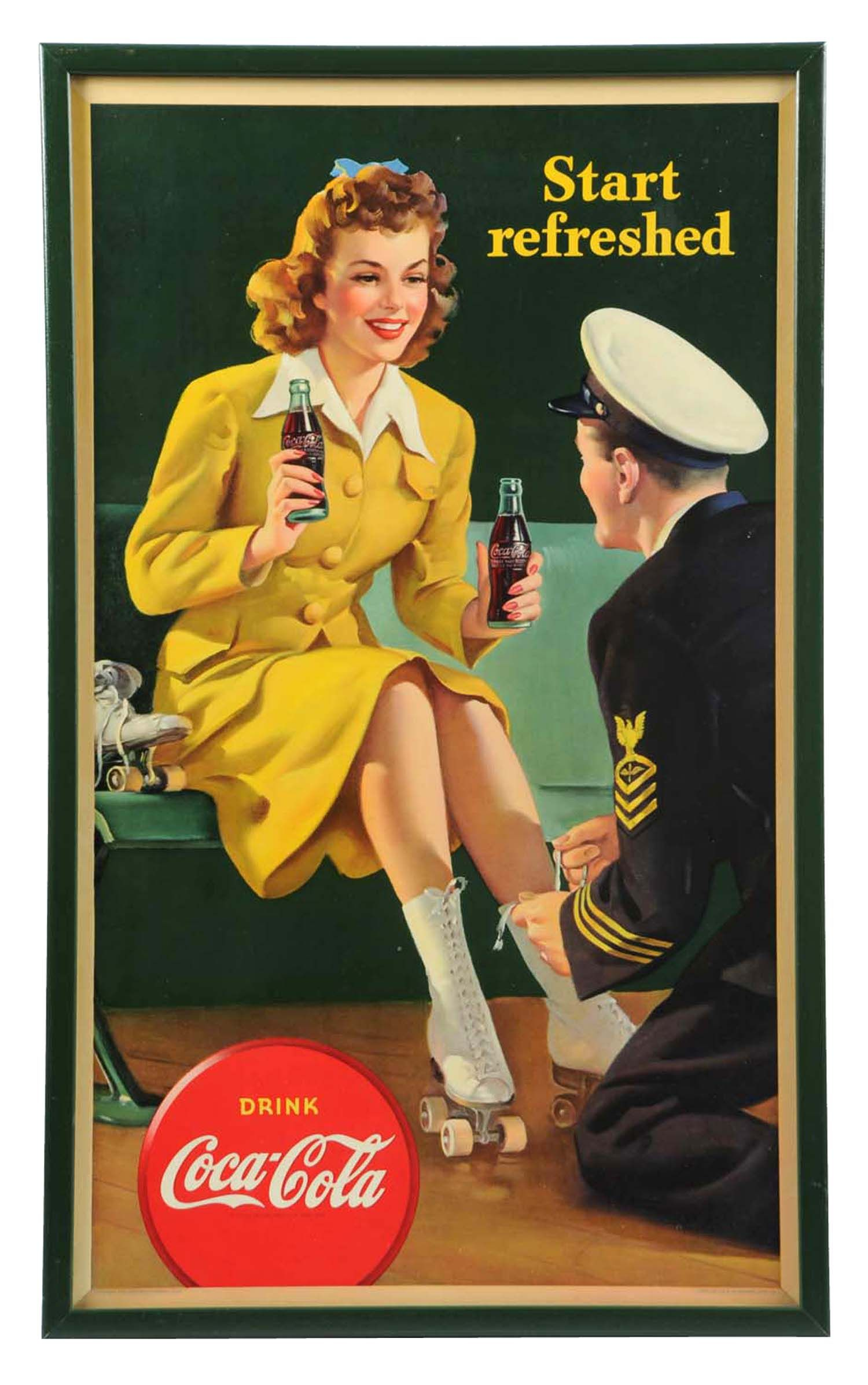 1943 Coca Cola Small Vertical Poster Framed Under Glass Beautiful And In Exceptional Condition 28 1 4 X 17