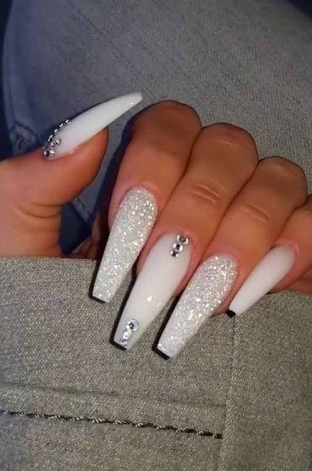 7 Coffin Nail Designs With Rhinestone On One Or More Finger In 2020 Best Acrylic Nails White Acrylic Nails Long Acrylic Nails