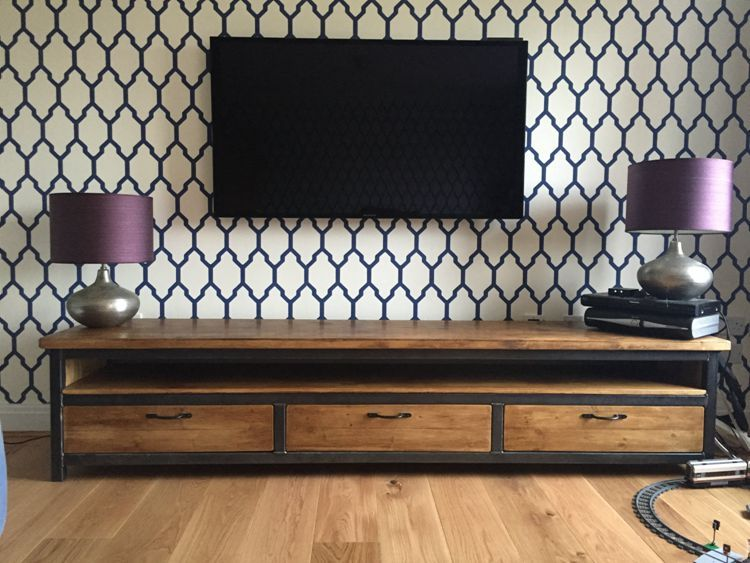 American Iron Wood TV cabinet industrial loftstyle living room