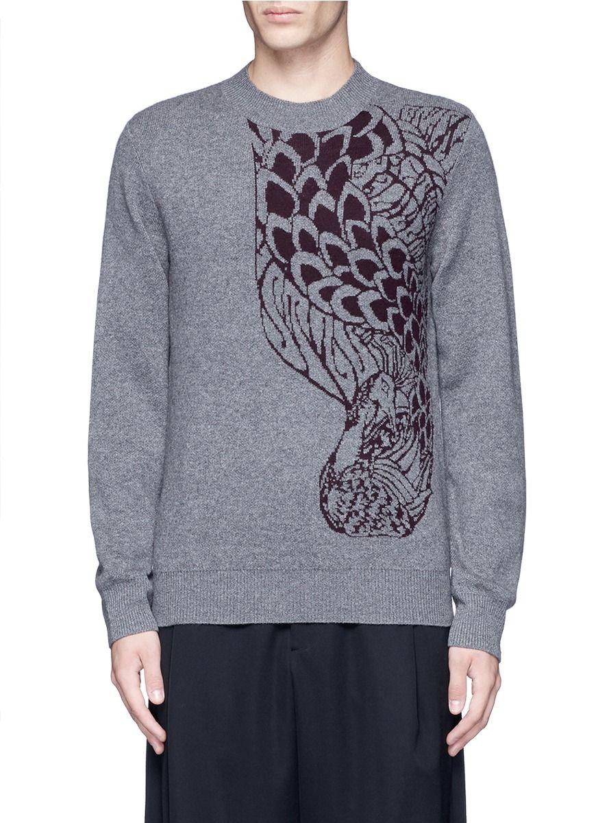 DRIES VAN NOTEN 'Midday' peacock jacquard cashmere-wool sweater. #driesvannoten #cloth #sweater