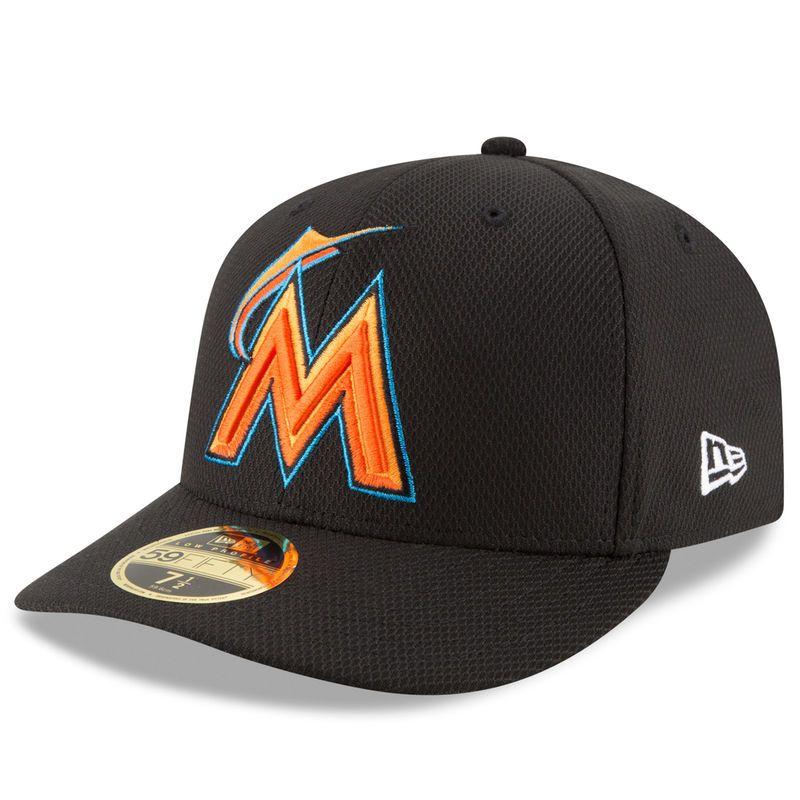 Miami Marlins New Era Diamond Era 59FIFTY Low Profile Fitted Hat - Black dfc7083719ed