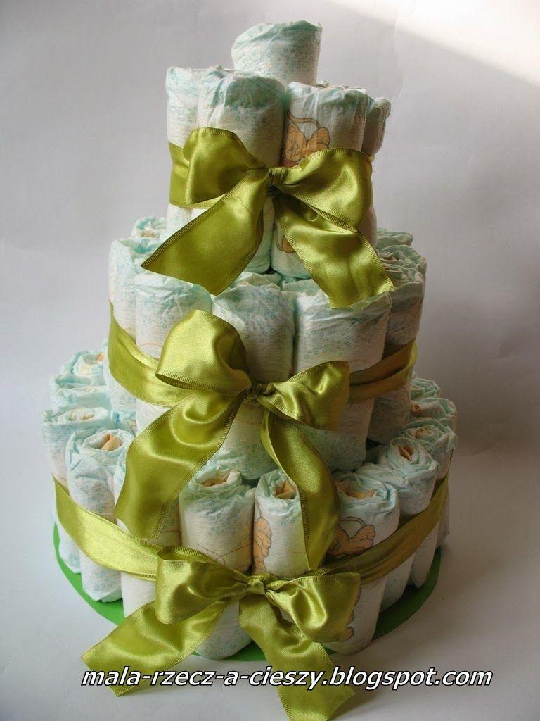 Mala Rzecz A Cieszy Jak Zrobic Dla Dziecka Tort Z Pampersow Diy Handmade Diaper Cake Children