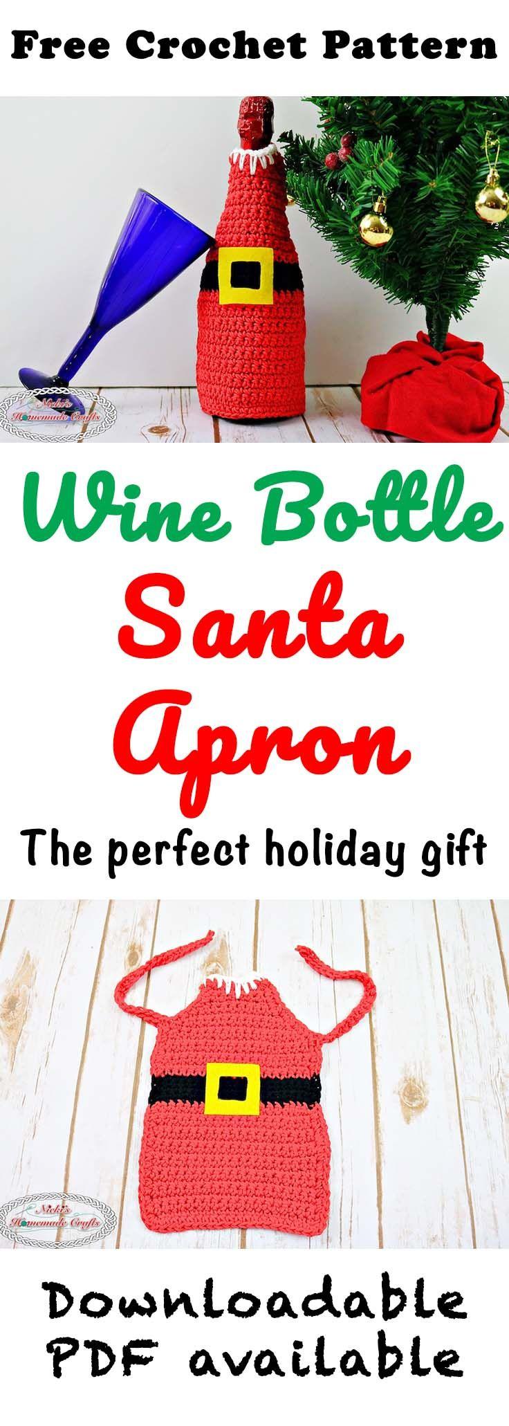 Wine Bottle Santa Apron - Free Crochet Pattern by Nicki\'s Homemade ...