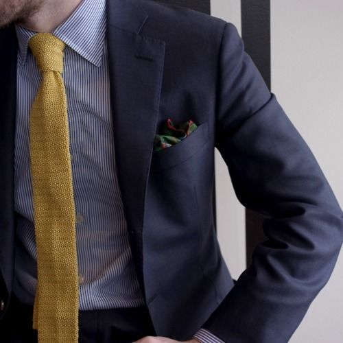 Navy Suit Navy Pinstriped Oxford Yellow Gold Knit Tie Green W Red Trim Pocket Square Wednesday Office Elegant Date Night Navy Suit Menswear Fancy Outfits