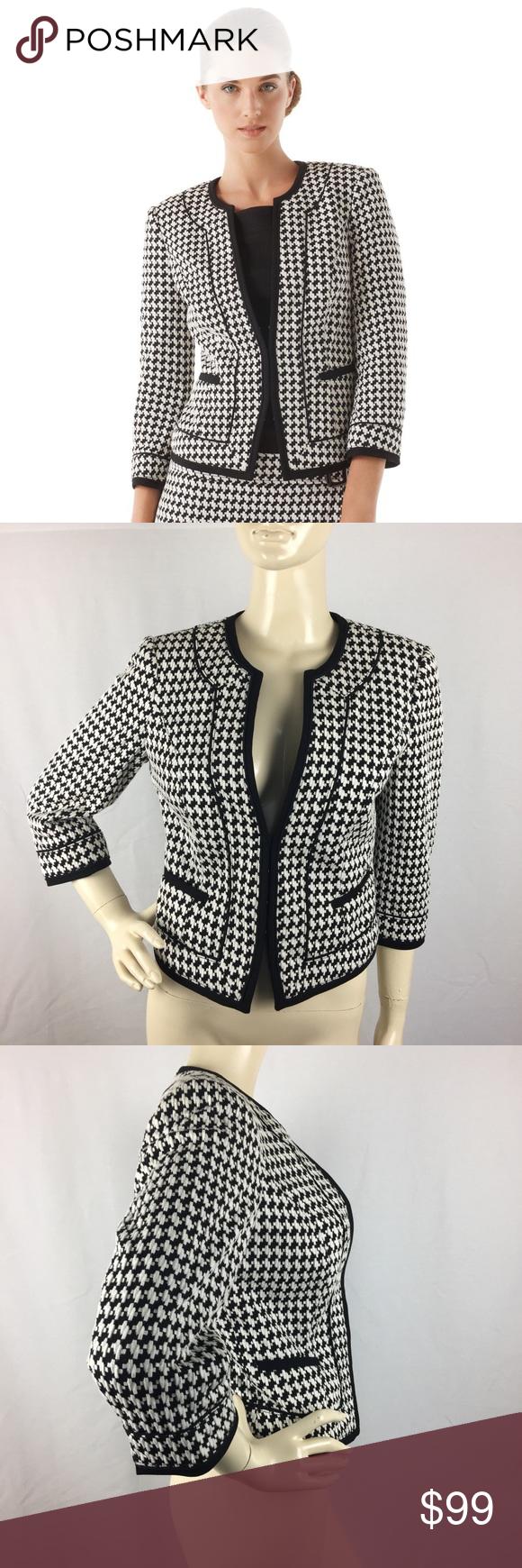 57768f030 White House Black Market Houndstooth Knit Blazer 6 New without tags. White  House Black Market Jackets   Coats Blazers