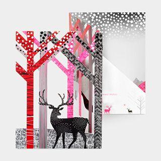 Deer in trees card