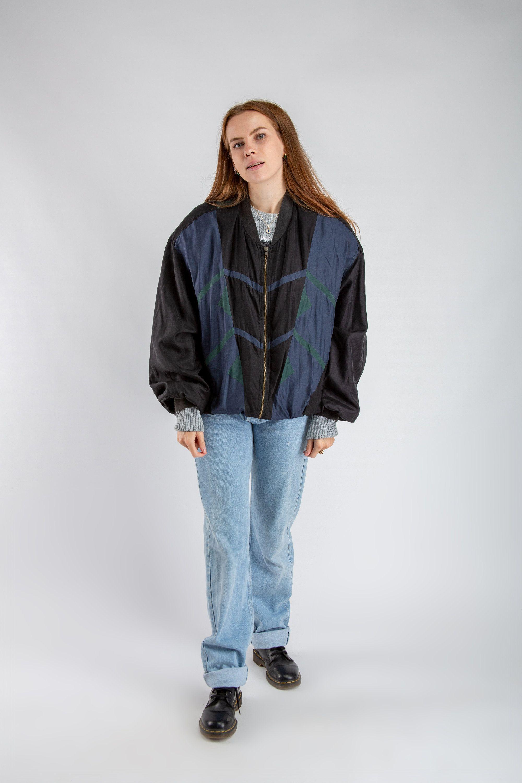 90s Oversized Jacket Vintage Black Blue Silk Bomber Jacket Etsy Womens Black Jacket Silk Bomber Jacket Bomber Jacket [ 3000 x 2000 Pixel ]