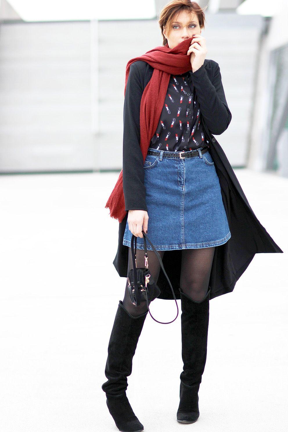 Look Jupe en jean blog mode Lyon Artlex | Jupe en jean
