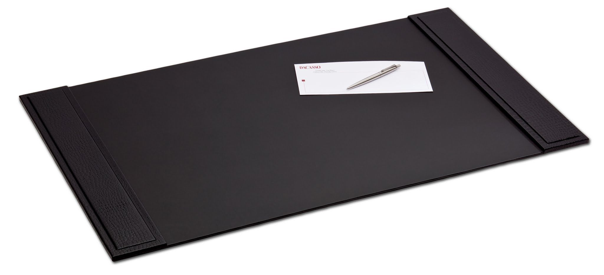Black Crocodile Embossed Leather 34″ x 20″ Side-Rail Desk Pad, $149.00  http://www.dacasso.com/products/p2201-black-crocodile-embossed-leather-34-x-20-side-rail-desk-pad/