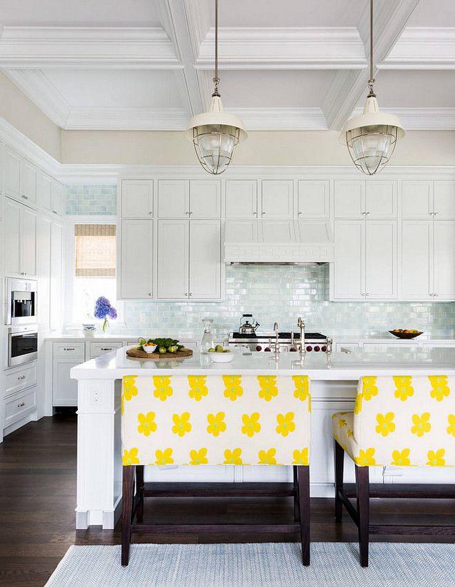 White kitchen with light blue tile backsplash. Light blue tile ...