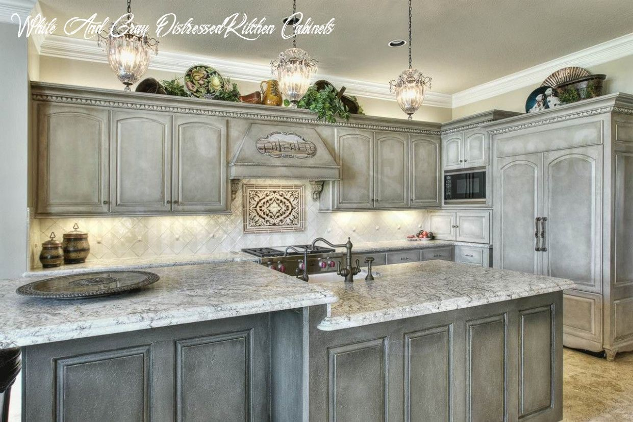 White And Gray Distressed Kitchen Cabinets In 2020 Kitchen Cabinets Painted Grey Shabby Chic Kitchen Cabinets Distressed Kitchen Cabinets