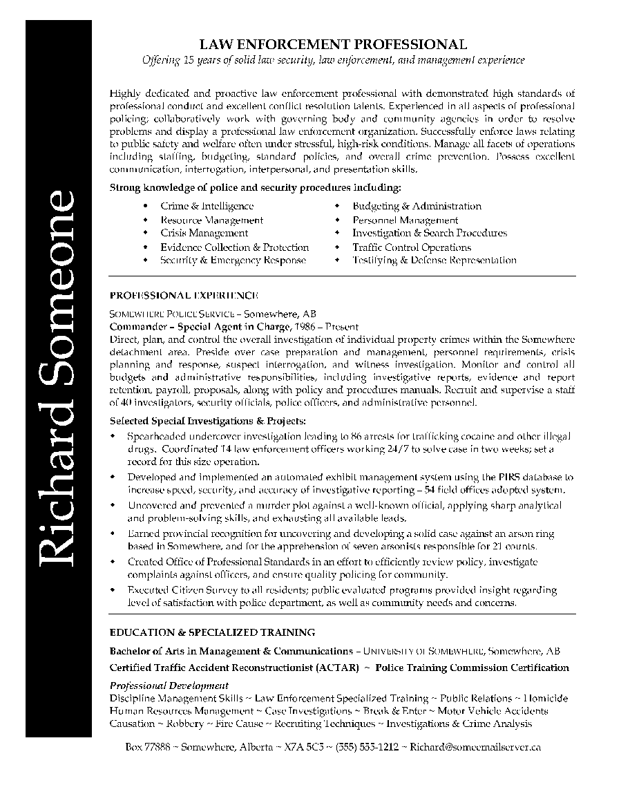 Law Enforcement professional resume. Richard had a lengthy and solid ...