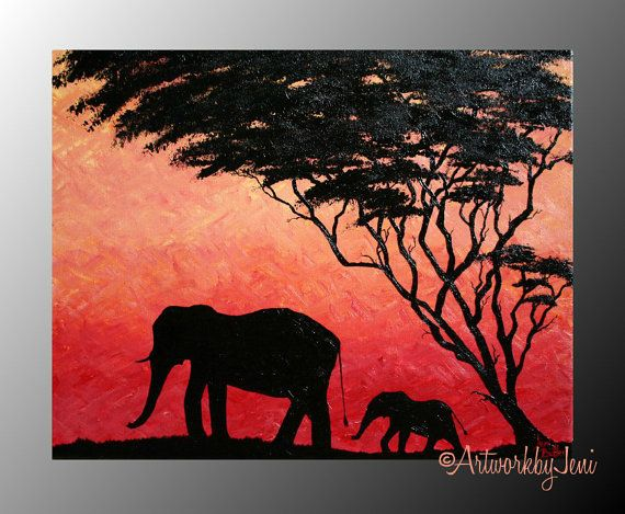 """Elephant Painting AcRyLiCs on CaNvAs African Landscape oRiGiNaL aRtWoRk 14""""x11""""  by ArtworkbyJeni - """"Burnt Skies and Leaning Trees"""""""