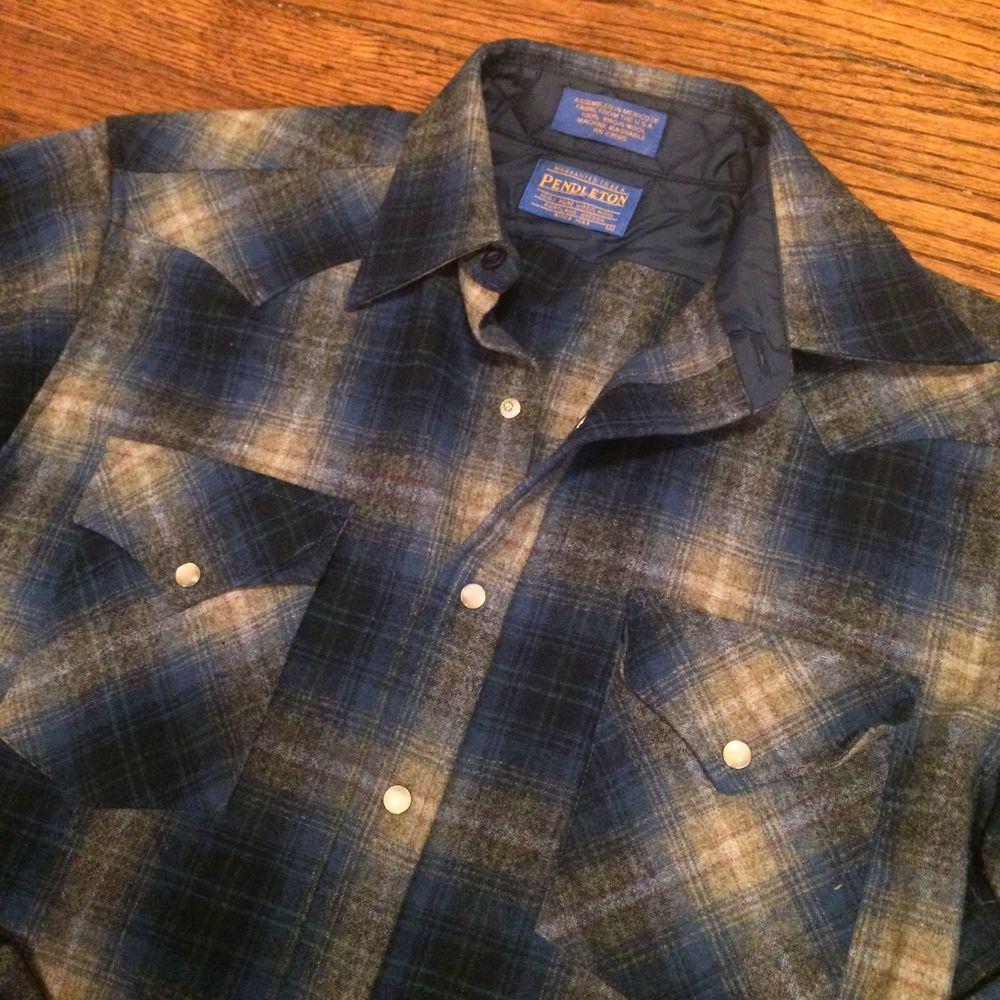 Pendleton Vintage Virgin Wool Pearl Snap Western Flannel