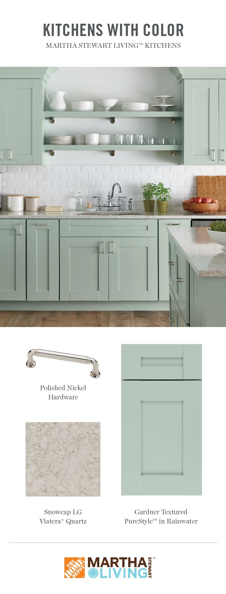 For A Change From Wood Tones Martha Stewart Living Purestyle Color Options Are Shown Off To Great Kitchen Design Color Kitchen Renovation New Kitchen Cabinets