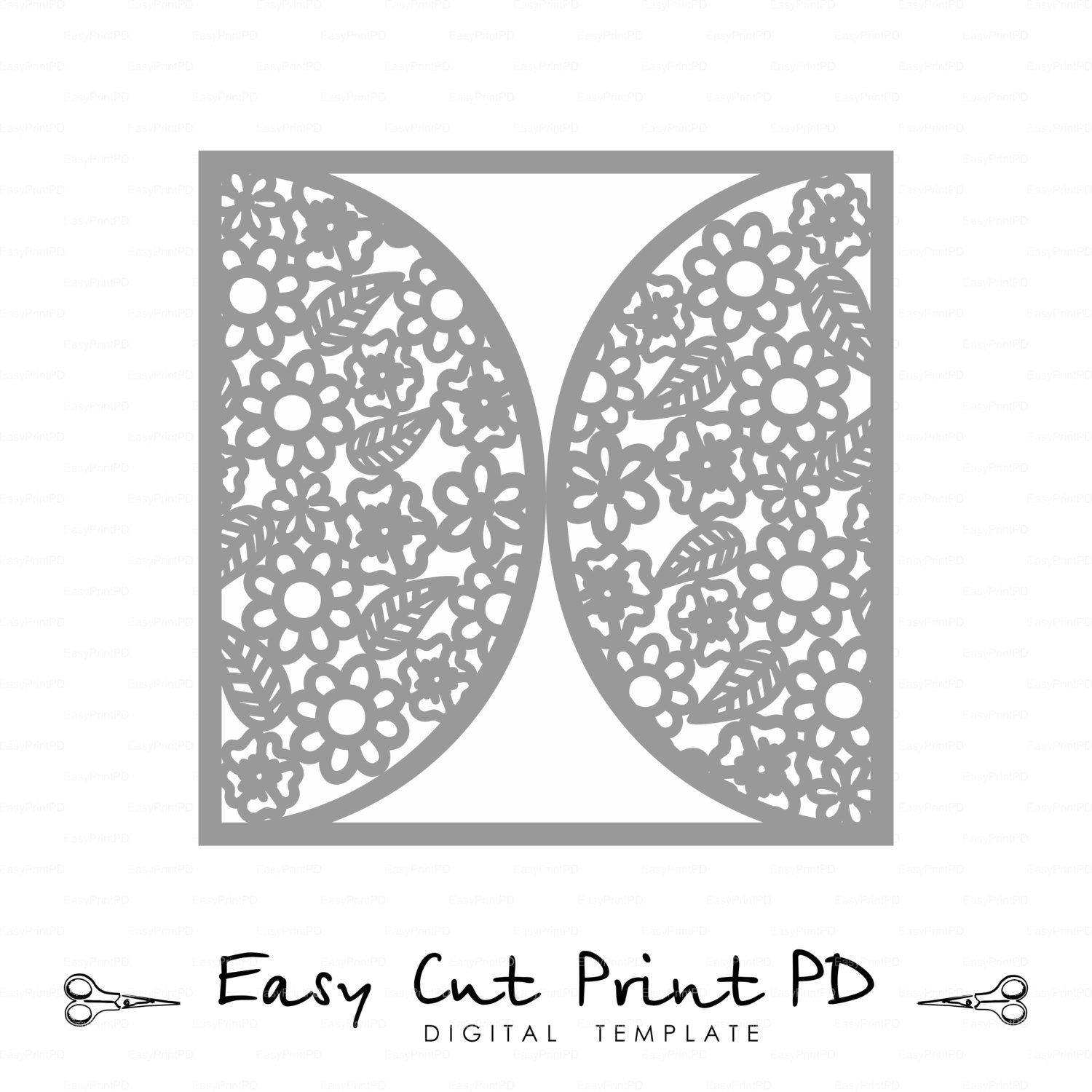 Wedding invitation Card Template Flowers Lace folds (svg, dxf, ai ...