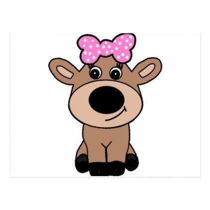 1058a73cc3f Cute Doe Deer Wearing a Hair Bow Postcard