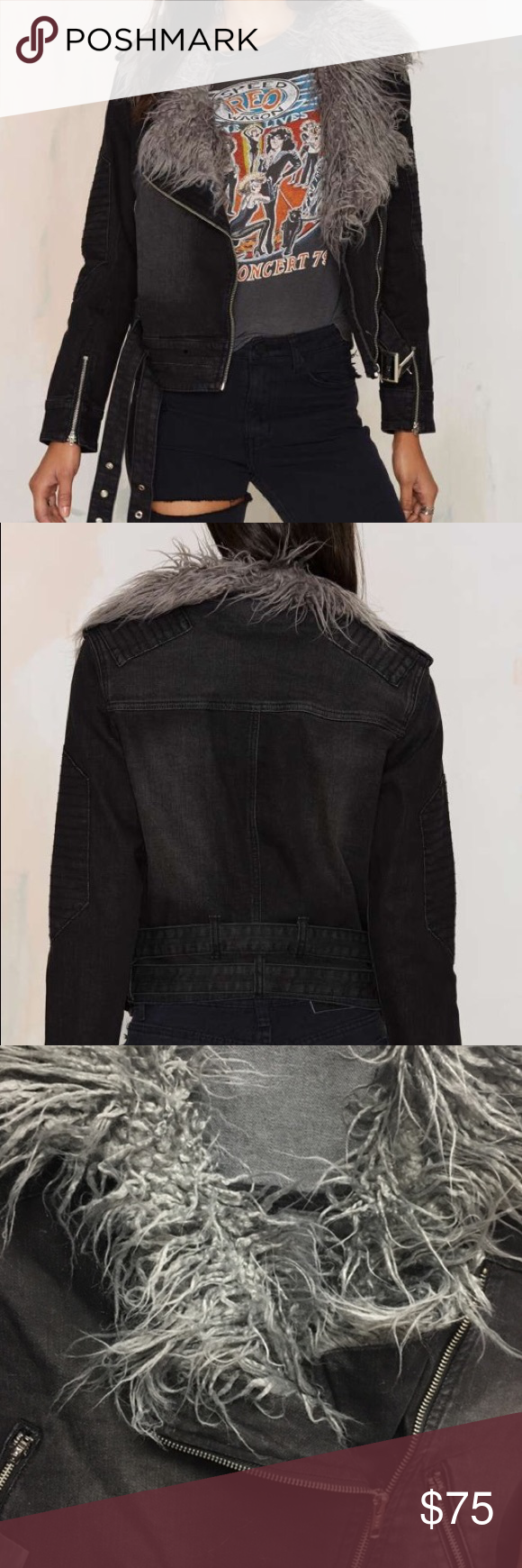 Somedays Lovin' Anita Denim Jacket (NWOT) Black/grey denim jacket with notched lapels, gray shag collar, asymmetric zip and moto detailing. Fits XS/S. Purchased from Nasty Gal, now sold out. Perfect condition. Nasty Gal Jackets & Coats
