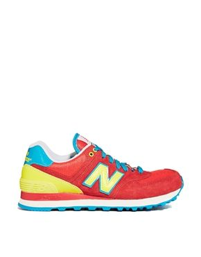 new balance red/yellow 574 carnival trainers