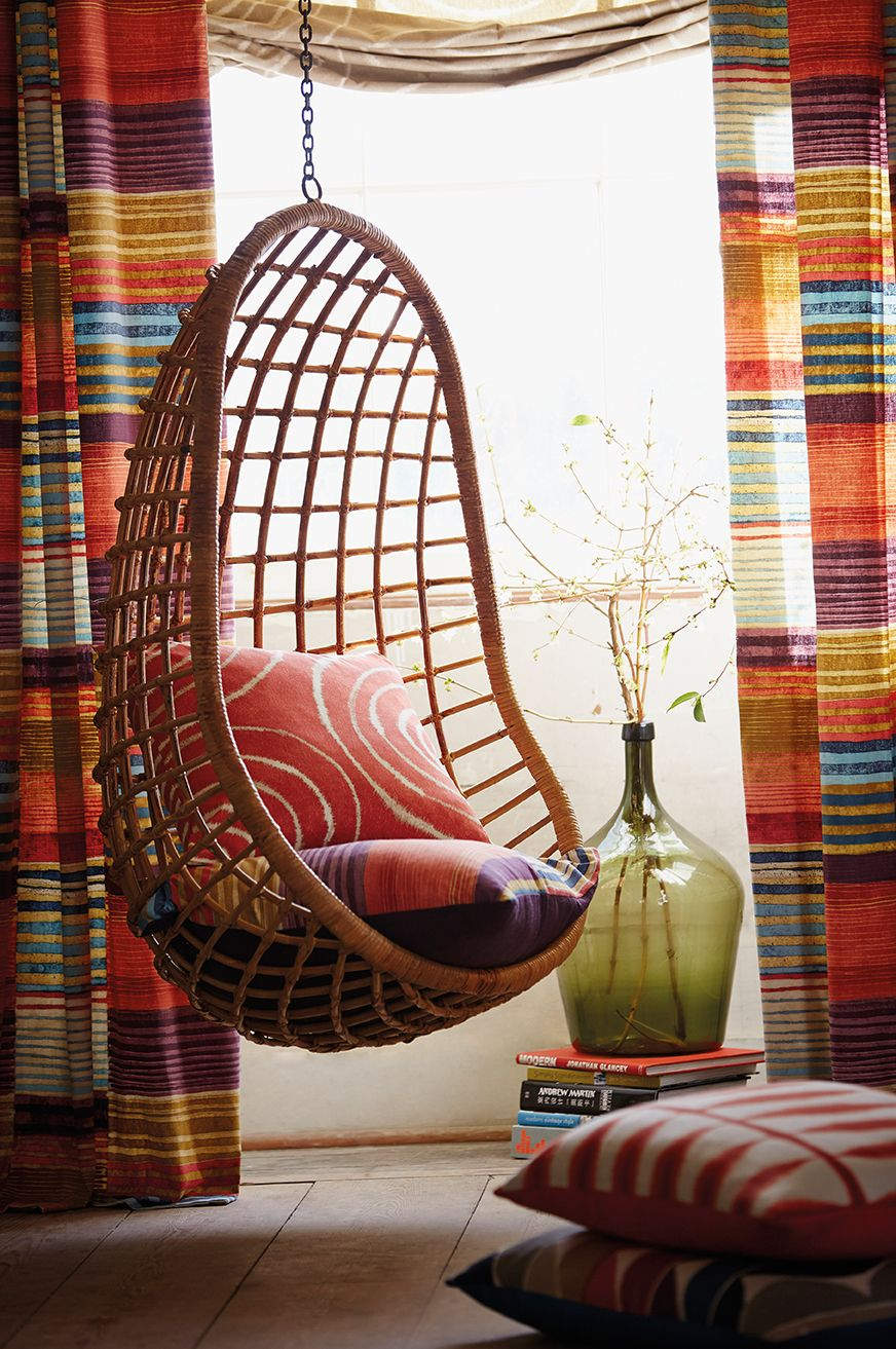 Retro Hanging Chair How Great Is This Retro Cane Hanging Chair In Our Spirit Fabric